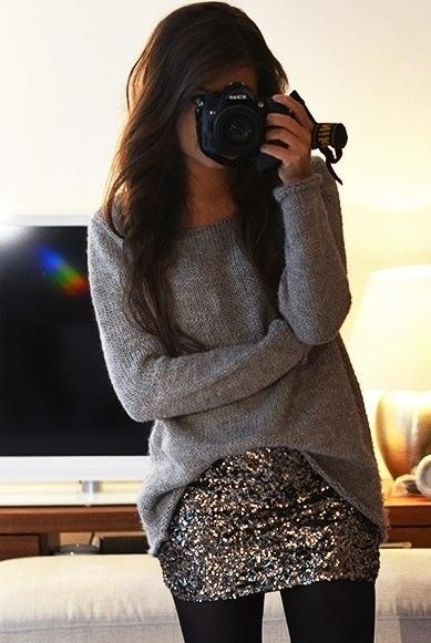 A sparkly mini skirt, tights and a cozy sweater - NYE perfection.