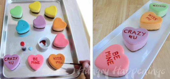 how to make rainbow conversation heart cheesecakes, cakes, pastel colors, edible crafts, Valentine's Day recipes